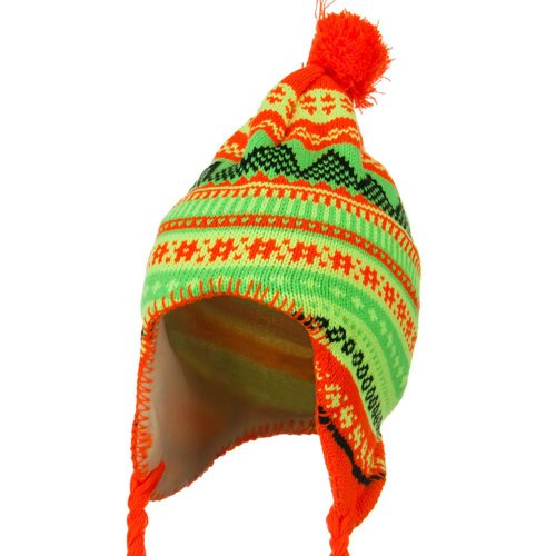 (Solid Wing Lady Neon Ear Cover Knit Hat - Orange OSFM)