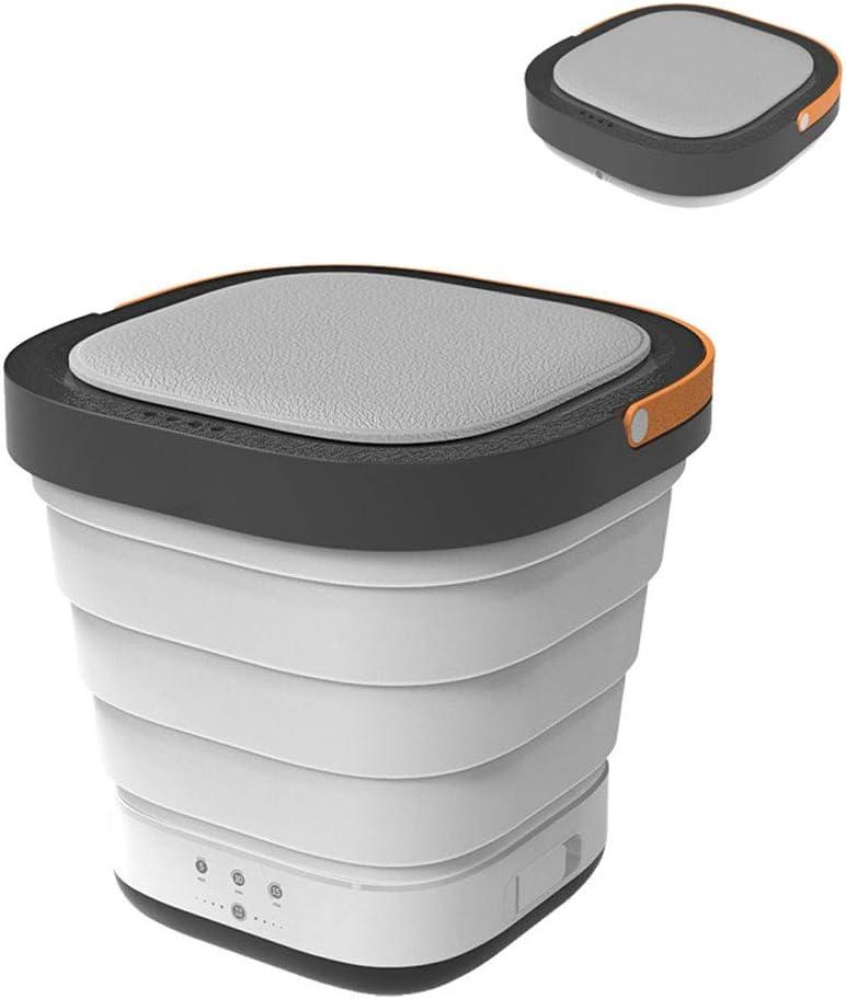MLSJM Mini Portable Automatic Folding Washing Machine, New Upgrade Household Underwear Washer for Travel Student Dormitory Space Saving,Gray White