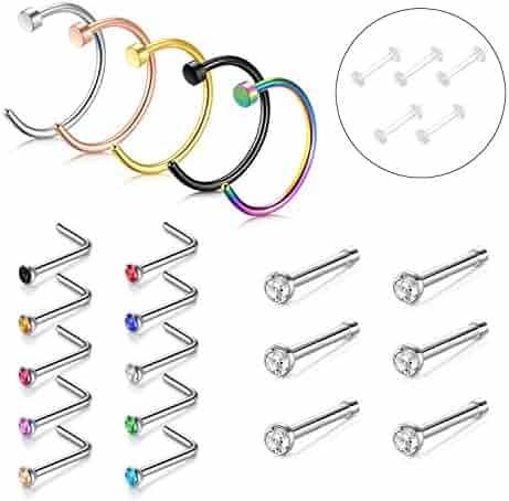 Nose Ring, 5PCS-20PCS 316L Stainless Steel Zolure Piercing Nose Hoop Ring Nose Screw Stud Rings 3 Designs