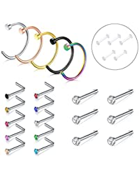 Nose Ring, 5PCS-21PCS 316L Stainless Steel Zolure Piercing Nose Hoop Ring Nose Screw Stud Rings 3 Designs