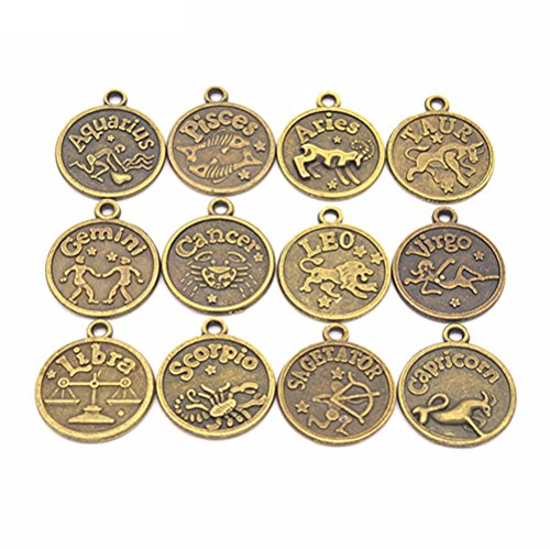 (Antique Bronze Vintage Style Round Horoscope Pendant Crafting Beads Findings for Jewelry Bracelet Necklace Making Charms)