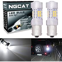 NGCAT Auto LED Bulb 2PCS BAU15S 1156 7507 PY21W 12496 5009 7507AST 2835 21 SMD Chipsets LED Bulbs with Lens Projector Brake Turn Signal Tail Backup Reverse Lights,Xenon White,10-16V 10.5W