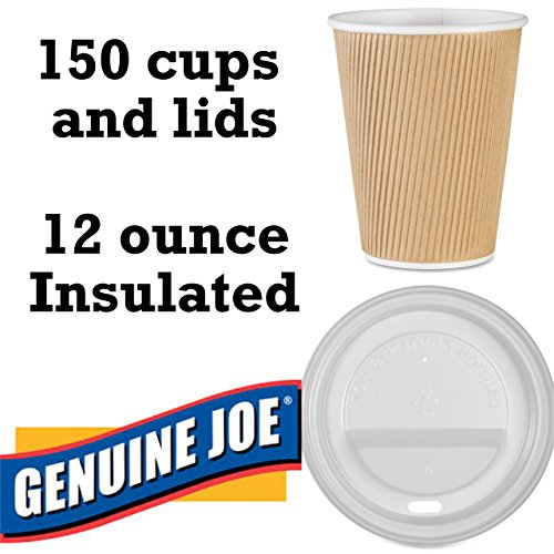 Ripple Box (Value Pack of Genuine Joe GJO11260 Insulated Ripple Hot Cup WITH lid GJO11259PK, 12-Ounce Capacity (Box of 150 cups and lids))