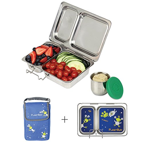 PlanetBox Shuttle Lunchbox- Blue  Carry Bag with Aliens Magnets