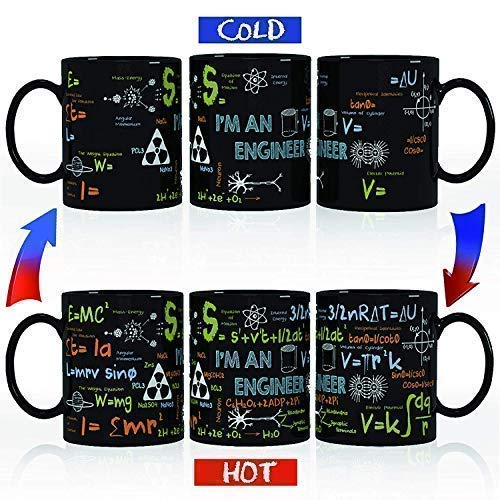 Kware - Engineering/Math Mug - Heat Sensitive Color Changing Coffee Mug,12 oz, Ceramic Unique New Year, Christmas, Birthday, Graduation Gift Idea- Comes in A Fun Gift Box