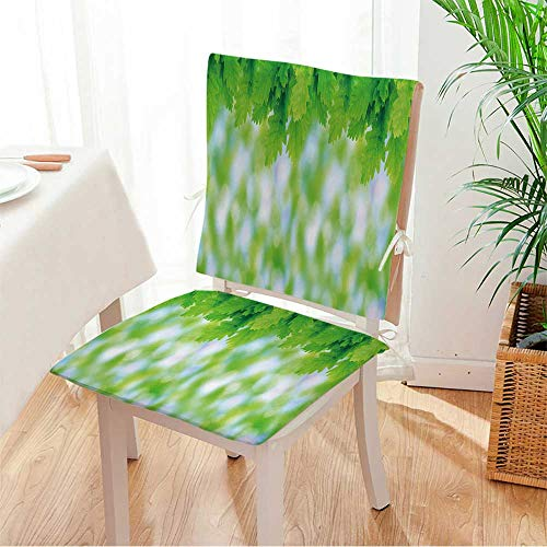 Miki home Seat Set Cushion Green Oak Leaves Large Format Image. 2 Piece Classic Decorative Chair pad W17 x H17/ W17 x H36 -