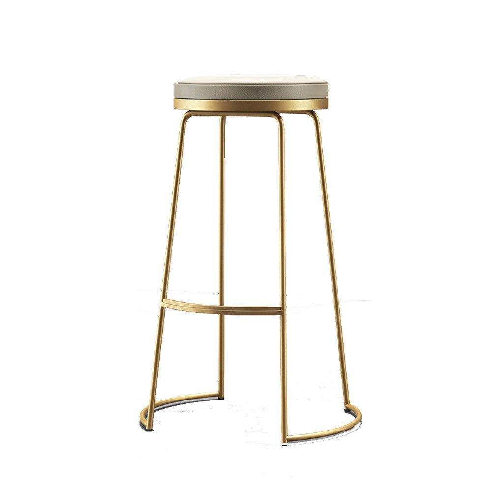 A H-75CM TY Furniture Nordic Bar Chairs,Modern Minimalist Wrought Iron High Stool European Fashion Bar Chair Casual Chair High Chair [3 colors 3 Heights] BEI (color   C, Size   H-75CM)