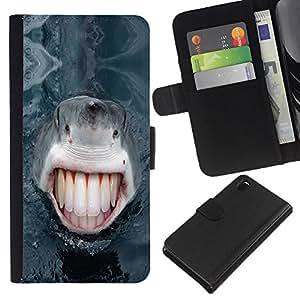 Planetar® Modelo colorido cuero carpeta tirón caso cubierta piel Holster Funda protección Para Sony Xperia Z3 D6603 ( Funny Lol Human Shark Teeth )