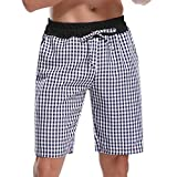 Hawiton Men's Pajama Sleep Shorts Lounge Sleepwear Causal Cotton Plaid Bottoms