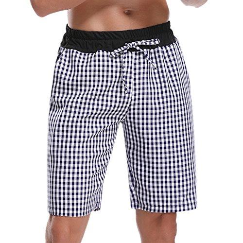 Hawiton Men's Pajama Sleep Shorts Lounge Sleepwear Causal Cotton Plaid Bottoms