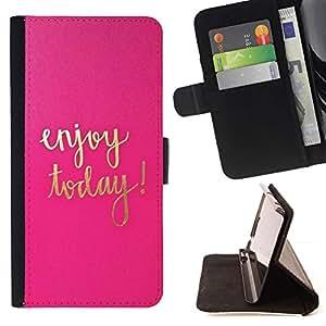 For Samsung Galaxy A3 Case , Hoy texto motivación Oro Rosa- la tarjeta de Crédito Slots PU Funda de cuero Monedero caso cubierta de piel