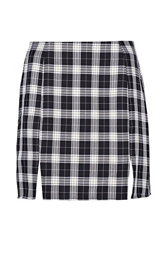 Check Mini Skirt (Boohoo Womens Indra Double Split Woven Check Mini Skirt In Black Size 8)