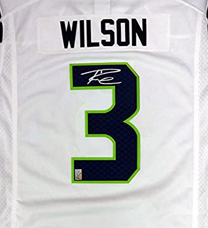 Seahawks Russell Wilson Autographed White Twill Jersey Size XL RW Holo Stock #90928