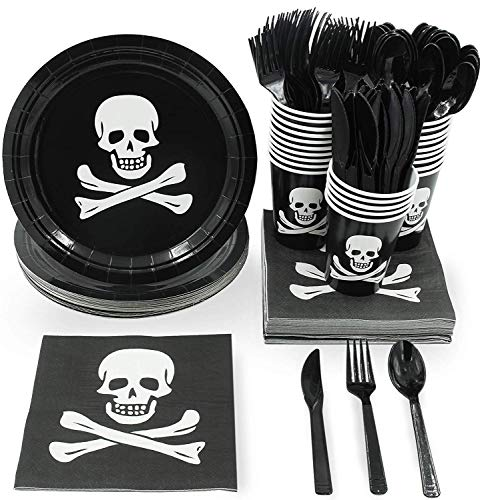 Juvale Pirate Skull and Crossbones Birthday Party Supplies - Serves 24 - Includes Plates, Knives, Spoons, Forks, Cups and Napkins -