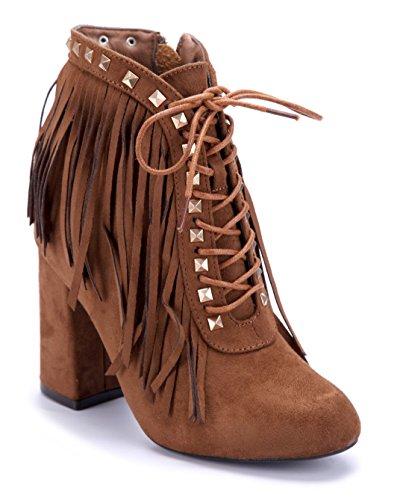 Schuhtempel24 Damen Schuhe Klassische Stiefeletten Stiefel Boots Blockabsatz Nieten 9 cm Camel