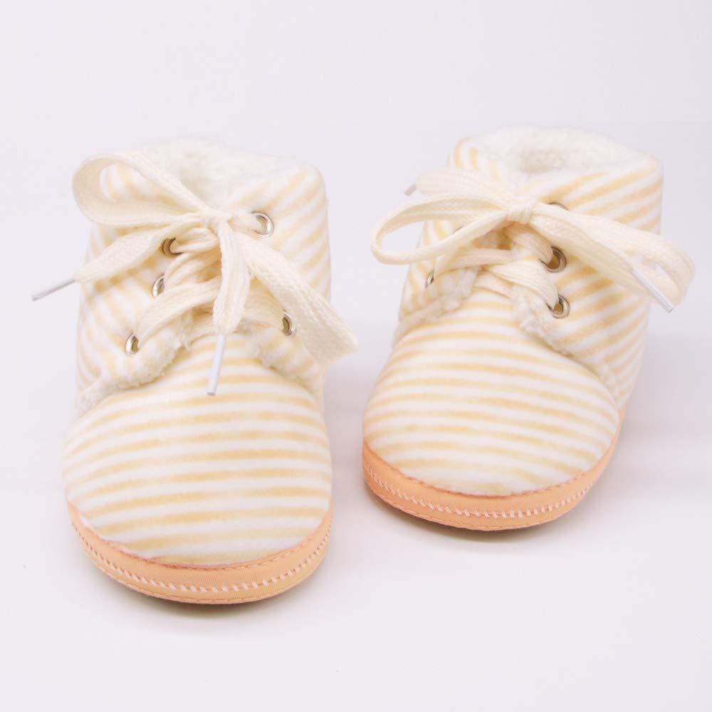 YanHoo Zapatos para niños Botas de Nieve Estampadas con Rayas de Encaje para bebés Botas de bebé recién Nacidas con Estampado de Rayas Botas de Suela Blanda ...