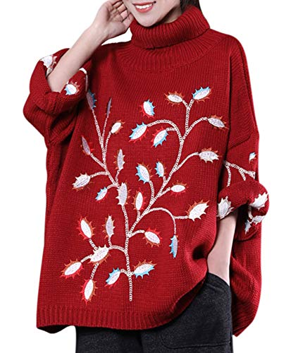 YESNO WS3 Women Casual Fashion Knitted Sweater Loose Fit Pullovers Floral Embroidery Turtleneck Ribbed Cuff (L, Red) - Floral Ribbed Cardigan
