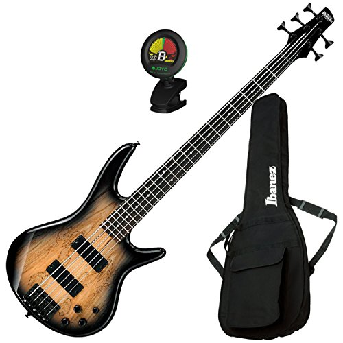 Ibanez GSR205SM 5 String Spalted Maple Top Electric Bass Guitar (Natural Grey Burst) w/ Gig Bag and Tuner