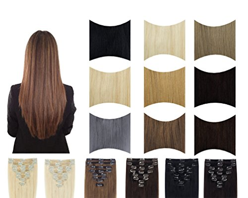 FUT Remy Grade 7a 18 Clips in 8 PCS Human Hair Pieces Extensions Straight Full Head 18inch 70g for Girl Lady Women Light Brown