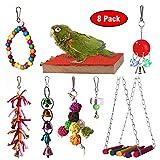 RYPET Bird Chewing Toy 8 Packs- Bird Parrot Toys Bird Hanging Bell Toy Pet Parrot Hammock Swing for Small Medium Birds