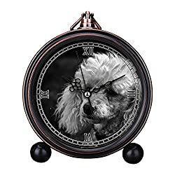 Vintage Retro Living Room Decorative Non-ticking, HD Glass Lens, Quartz, Analog Large Numerals Bedside Table Desk Alarm Clock Cute Cat Dog Series -043.Black And White, Poodle, Dog