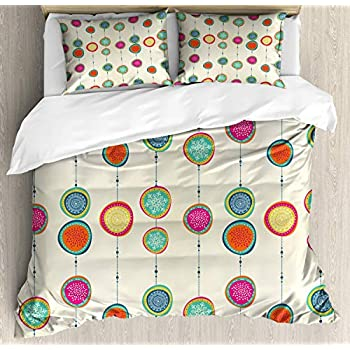 Image of Bedding Sets Duvet Cover 3 Pieces, Christmas Ultra Soft Bed Quilt Set with 2 Pillowcases for Kids/Teens/Women/Men Bedroom Hand Drawn Noel Themed Composition Colorful Illustration on Beige Background Home and Kitchen