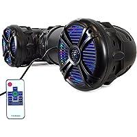 Pyle 8- Outdoor Bluetooth ATV , UTV Speaker  Weatherproof & Water Proof Housing with Multi-Color LED Lights For ATV, UTV, 4x4, Golf Carts, Jetski, Snowmobile & More (PLATV85BT)