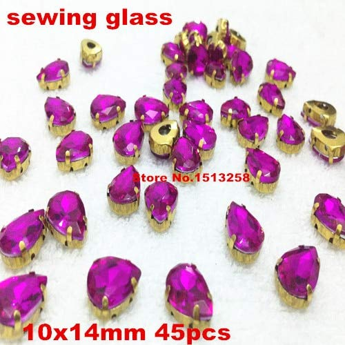 Calvas 45pcs/lot Rose Red Color 10x14mm Pear Shape Crystal Fancy Stone with Gold Color Claw Setting Sew On Rhinestones/Beads