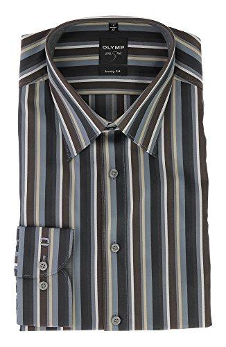 OLYMP Level 5 Five Freizeit Hemd Body Fit mit Kent Kragen Comfort Stretch & Bügelleicht Gr.41 Braun Grau Gestreift Muster