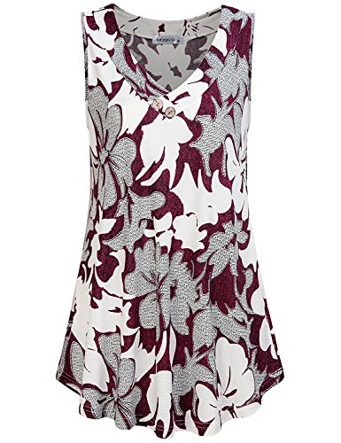 MOQIVGI Boho Shirts for Women,Sleeveless Tunic Tanks Prime Summer Work Chic Floral Patterned Sexy Blouses V Neck Buttons Decor Hibiscus Tops Ladies Business Casual Clothes Multicoloured Red Large (Tunic Hibiscus)