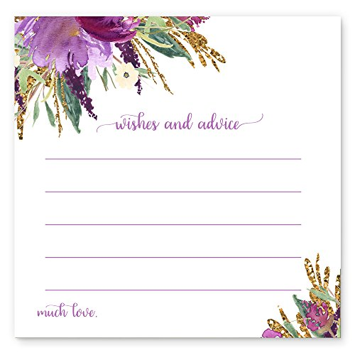 (Purple Floral Advice and Wishes Game Card Pack of 25)