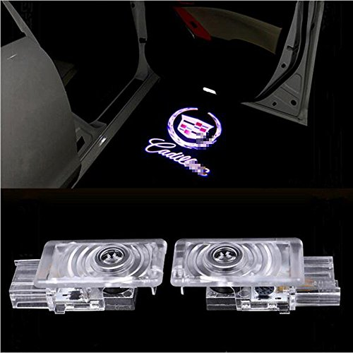 2 PCS Car Projection LED Projector Door Shadow Light Welcome Light Laser Emblem Logo Lamps Kit for Cadillac (SRX 2011-2017) (XTS 2009-2016) ATS 2014-2017