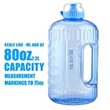 BOTTLEDJOY 2.2Litre Big Water Bottle,Large Water Bottle with Handle,Lightweight Water Jug Hydrate Container with Dust Cap for Outdoor,Leakproof Plastic Half Gallon Fitness Sports Water Bottle for Gym