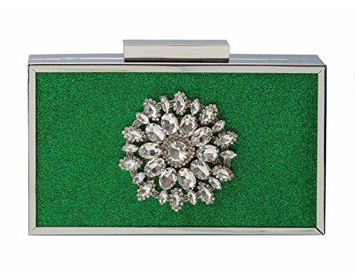 ECOSUSI Women¡¯s Elegant Rhinestone Starburst Evening Clutch Wedding Purse Green