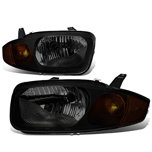 Chevy Cavalier 3rd Gen Sedan Pair of Smoked Lens Amber Corner Headlight Lamp (Chevy Chevrolet Cavalier Headlight)