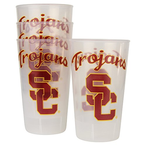 NCAA Frosted Plastic Tailgating Cups, 16oz.(4-Pack) (USC Trojans)