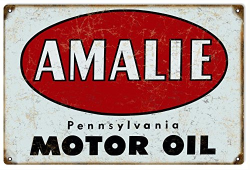 Reproduction Oil Motor - Victory Vintage Signs Amalie Motor Oil Reproduction Gas Station Sign Garage Art