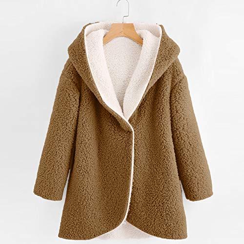 Chaud Revers Plush Pour Café La Replier Femmes Hem Capuche Manches Mode Plus Manteau Haut Hiver À Longues Vestes Bouton Solide Épais Shobdw Taille aTRwAT