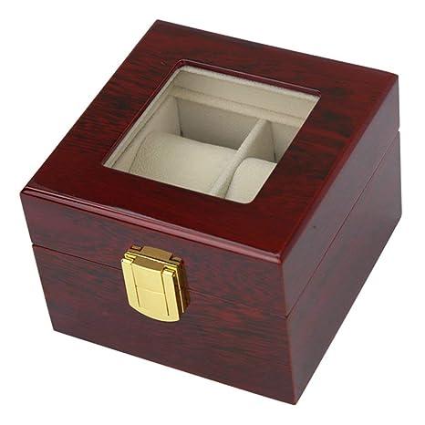 V.JUST 2 Cuadrículas Caja De Reloj De Madera Maciza Joyero Organizador De La Caja