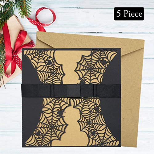 (Monadicase Spider Web Halloween Greeting Cards, 5 Pack Black Laser Cut Paper jam Front Cover with Blank Kraft paper stationery + Envelope Invitation Cards, 10 PCS Mini Halloween Note Cards)