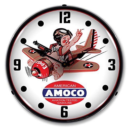 The Finest Website Inc. New Amoco Aviation Retro Vintage Style Advertising Backlit Lighted Clock - Ships Free Next Business Day to Lower 48 States