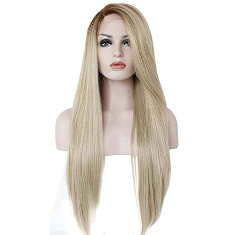 "Huphoon Women 26"" Long Straight Ombre Light Blonde Roots 360 Lace Front Glueless Full Wig"