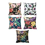 YaYa cafe Printed Tropical Hawaiian Floral Flower throw cushions pillow covers 16x16 inches for Home decor Sofa Chair bedroom living Room - Set of 5