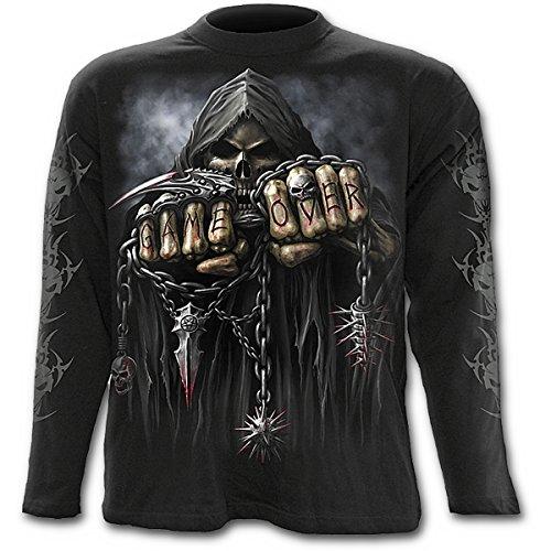 Spiral Game Over Langarm Shirt, schwarz