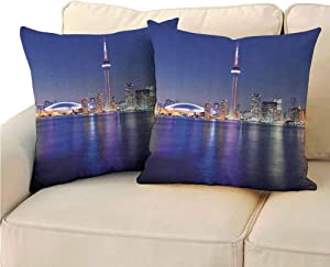 Blue Printed Pillowcase, Canada Toronto Sunset Over The Lake Panorama Urban City Skyline with Night Lights Easy to Care (2 PCS, 22x22 Inch) Blue Pink Peach