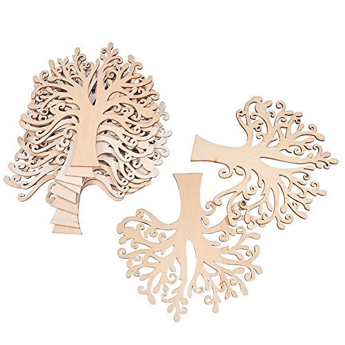 (NBEADS 20pcs Blank Wooden Family Tree Embellishments for Wedding Christmas Ornaments and DIY Crafts, 4.9x4.9x0.12inch)