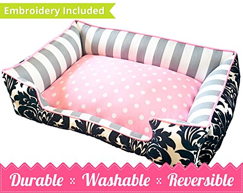 Pink, Grey & Black Damask Pet Bed | Ultimate in Comfort & Design | Bed is Reversible & Washable with a removable cover | Durable | Cat or Dog Bed | Quality Pet Bed | Stripe Dog Bed | Cat Bed by Sammys Sew Shop