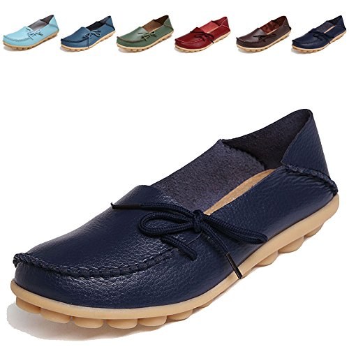 Women Shoes Online - LINE BLUE Women's Genuine Leather Cowhide Lace Up Loafers Casual Shoes Indoor Flat Slip-on Casual Flat Driving Loafers Slippers,black,40