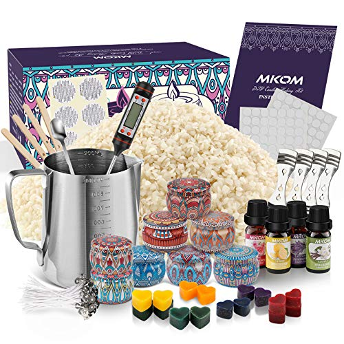 Candle Making Kit, DIY Candle Making Kit for Adults, Complete Beeswax Candle Making Supplies Set Including Melting Pot, Beeswax, Dyes, 4 Scents, Wicks, 8 Candle Tins