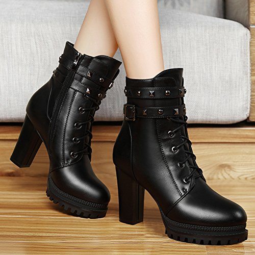 KHSKX-9Cm Rivet Shoes New Round Round Heel Rivets Short Boots For Women'S Shoes Thirty-seven VzHoMy
